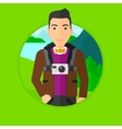Man with camera on chest vector image vector image