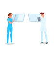 medical staff with tablets vector image vector image