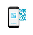 mobile phone scanning qr code qr code on screen vector image vector image