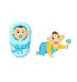 newborn bachildren in diaper with pacifier vector image vector image
