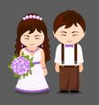 newlywed couple vector image vector image