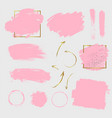 pink paint strokes and golden arrows vector image