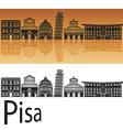 Pisa skyline in orange background vector image vector image