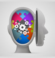 puzzle and gears in the open head vector image vector image
