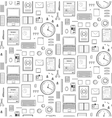Seamless Pattern Office Supplies Flat Monochrome vector image vector image