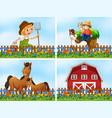 set farm landscape vector image