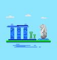 singapore landmark in flat editable v vector image vector image