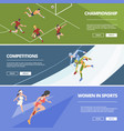 sport banners olympic games athletes in action vector image vector image