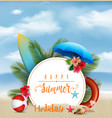 summer holiday background with a white circle for vector image vector image