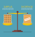 surplus and shortage balance on the scale vector image vector image