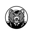 tasmanian devil wearing business suit woodcut vector image vector image