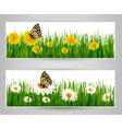 Two banners with butterflies and flowers vector image vector image