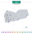 Yemen map with location pointer marks infographic