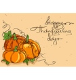 Thanksgiving card with pumpkins vector image