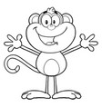 black and white happy monkey cartoon character vector image