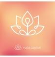 Yoga lotus pose linear logo vector image
