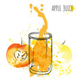 apple juice splash watercolor vector image vector image