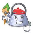 artist cartoon whistling kettle for gas cooker vector image