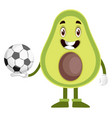 avocado with football ball on white background vector image