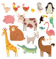 bacartoons wild bear giraffe crocodile bird vector image