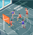 basketball field sport club active game players vector image vector image