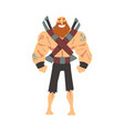 bearded brutal muscular pirate with sabers male vector image vector image