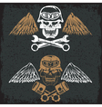 biker theme label with pistons wrenches and skulls vector image vector image
