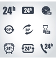 black 24 hours icon set vector image