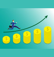 businessman running on growth coins graph vector image vector image