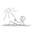 cartoon man lying on beach and enjoying summer vector image vector image