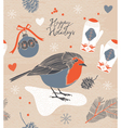 Christmas decoration Bird and berries vector image vector image