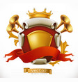 crown and shield king 3d icon vector image