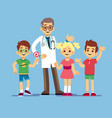 cute male pediatrician doctor and happy healthy vector image