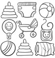 doodle of baby toys on white background vector image vector image