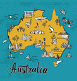 drawing cartoon map of australia vector image