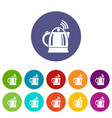 electric kettle icons set color vector image vector image