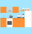 flat kitchen room interior with furniture stove vector image