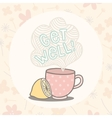 Get well greeting card with cute cup vector image vector image