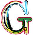Grunge colorful font Letter G vector image