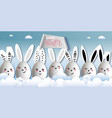 happy easter funny cute rabbits with easter eggs vector image