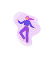 happy woman is spinning in dance fun colorful vector image vector image