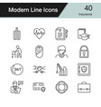 insurance icons modern line design set 40 vector image vector image