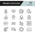 insurance icons modern line design set 40 vector image
