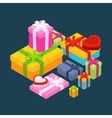 Isometric colored gift boxes vector image vector image