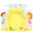 kids building a sand castle with copy space vector image vector image