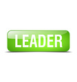 leader green square 3d realistic isolated web vector image vector image