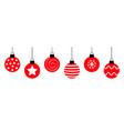 merry christmas ball hanging on line cute round vector image