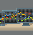 Modern gadgets with graphic chart vector image vector image
