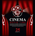 movie time poster with old fashioned camera vector image vector image