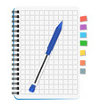 notebook with colored bookmarks and blue pen vector image vector image
